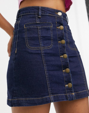 Синяя джинсовая мини-юбка напуговицах Brave Soul Bellance-Голубой