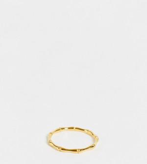 Серебряное позолоченное тонкое кольцо с отделкой в виде бамбука ASOS DESIGN-Золотистый