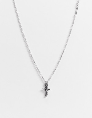 Серебристая подвеска в виде креста, обвитого змеей WFTW-Серебристый