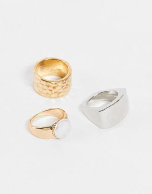 Набор колец из разных металлов с искусственным жемчугом Accessorize-Золотистый