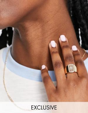 Золотистое кольцо-печатка со звездой Reclaimed Vintage Inspired-Золотистый