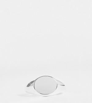 Эксклюзивное посеребренное овальное кольцо-печатка Orelia-Серебристый