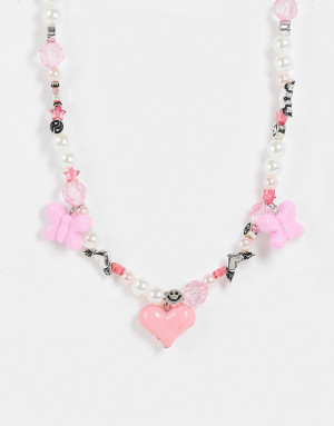 Ожерелье из бусин и искусственного жемчуга с бабочками и сердечком ASOS DESIGN-Разноцветный