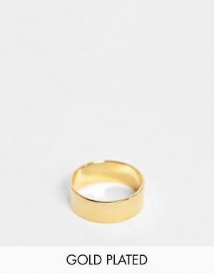 Широкое кольцо с позолотой 14 карат ASOS DESIGN-Золотистый