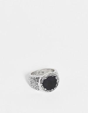 Серебристое фактурное кольцо с эмалью Icon Brand-Серебряный